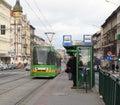 Les gens à l arrêt de tramway Image libre de droits