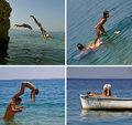 Les gens sautant en mer (le collage) Photo stock