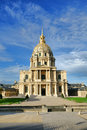 Les invalides landmark chapel in paris france of saint louis with dome at hotel national des monument and museum building Stock Image