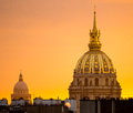 Les invalides paris view of cupola at sunset france Royalty Free Stock Photos