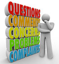 Les questions commente des soucis pensant person words Photos stock