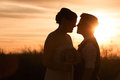 Lesbian couple at sunset beautiful same sex in civil union Royalty Free Stock Photos