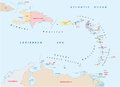 Lesser antilles map Royalty Free Stock Photo