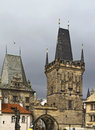 Lesser bridge tower prague the on the side of mala strana Stock Photography