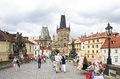 Lesser town bridge tower charles bridge in prague Royalty Free Stock Image