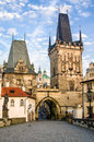 Lesser town bridge tower mala strana de charles bridge Photos stock