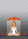 Lesson brain girl sitting in lotus position under umbrella illustration of a ginger girl with pain typography surrounding her Royalty Free Stock Images