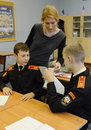 At the lesson of English language in the cadet corps of the police. Royalty Free Stock Photo