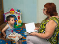 Lesson speech therapist Royalty Free Stock Photography