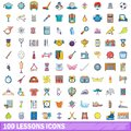 100 lessons icons set, cartoon style