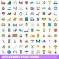 100 lessons sport icons set, cartoon style