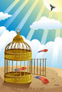 Let it go or freedom concept a vector illustration of releasing bird from the cage for Royalty Free Stock Photography