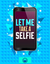 Let me take a selfie, vector illustration with smart phone Royalty Free Stock Photo