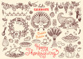 Let's celebrate Happy Thanksgiving doodles set Royalty Free Stock Photo