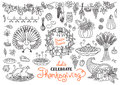 Let's celebrate Thanksgiving Day doodles set Royalty Free Stock Photo