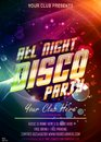 Let`s dance party invitation. All night disco vector poster with chic gold flare headline and bokeh