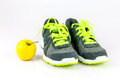 Let s get healthy a pair of running shoes and an apple Royalty Free Stock Photos