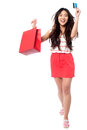 Let s go shopping cheerful young girl asian model holding bag and credit card Royalty Free Stock Photography