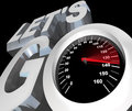 Let's Go Speedometer Excited Ready to Begin Start Stock Photo
