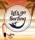 Let's Go Surfing in a Circle Icon on a Seascape Retro Background