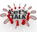 Let's Talk People Group in Circle Discuss in Speech Clouds Royalty Free Stock Photo
