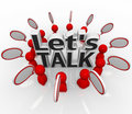 Let's Talk People Group in Circle Speech Clouds Royalty Free Stock Photo