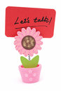 Let s talk words written on red paper of sun flower pot clip Stock Photos