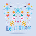 Let it snow decorative lettering Royalty Free Stock Photo