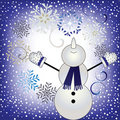 Let it snow - happy snowman in snowfall Stock Photo