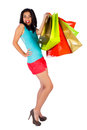 Let us go shopping girl over white background with lot of multicolor bags Royalty Free Stock Photos