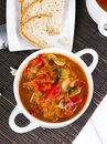 Letcho with paprika, zucchini and champignon mushroom Royalty Free Stock Photo