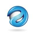 Letra brillante redonda d un azul logo icon Fotografía de archivo libre de regalías