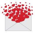Letra de amor con la bandera de los corazones valentines vertical Fotos de archivo