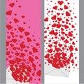 Letra de amor con la bandera de los corazones valentines vertical Imágenes de archivo libres de regalías