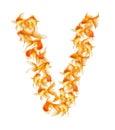 Letra del alfabeto de los pescados del oro Imagen de archivo libre de regalías