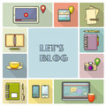Lets blog card. Vector illustration for social media.