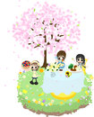 Lets enjoy cherry blossom viewing while eating soup and seafoods pie of the fruits under the beautiful cherry tree Royalty Free Stock Images