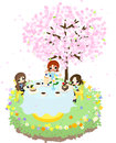 Lets enjoy cherry blossom viewing while eating sweet cakes under the beautiful cherry tree Stock Photos