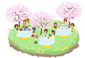 Lets enjoy cherry blossom viewing together while eating various food under the beautiful cherry trees Royalty Free Stock Image