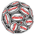 Lets get interacive speech bubbles group communication let s interactive words in a sphere or ball of to illustrate and working Stock Image