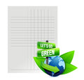 Lets go green recycle paper illustration design over white Royalty Free Stock Photo