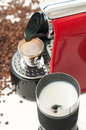 Lets start the day coffee machine with a cup of espresso with milk foamer Royalty Free Stock Image