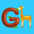 Letter with animal giraffe for kids abc education in preschool.