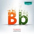The letter B, character digital technology logo design