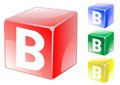 Letter b in cube set of alphabet color Stock Photography