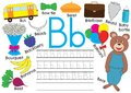 Letter B. English alphabet. Writing practice for children. Kids game.