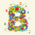 Letter B, floral design Royalty Free Stock Photo