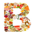 Letter B made of food Stock Photo