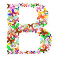 The letter B made up of lots of butterflies of different colors