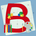 Letter b from stylized alphabet with children s toys brush watercolor colored pencils cubes toy puzzle Stock Photo